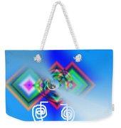 Blue Triple Interconnected Squares Weekender Tote Bag