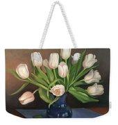 Blue Vase, White Tulips Weekender Tote Bag