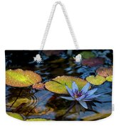 Blue Water Lily Pond Weekender Tote Bag
