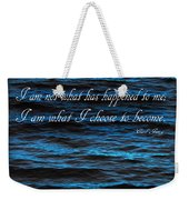 Blue Water With Inspirational Text Weekender Tote Bag