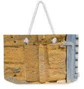 Blue Window On A Grungy Yellow Wall Weekender Tote Bag