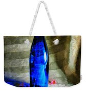 Blue Wine Bottle Weekender Tote Bag
