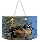 Blue Winged Teal Pair Weekender Tote Bag
