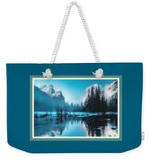 Blue Winter Fantasy. L B With Decorative Ornate Printed Frame. Weekender Tote Bag