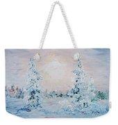 Blue Winter Weekender Tote Bag