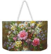 Bluebells Daffodils Primroses And Peonies In A Blue Vase Weekender Tote Bag
