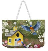 Bluebirds And Yellow Birdhouse Weekender Tote Bag by Crista Forest