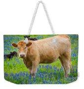 Bluebonnet Cow Weekender Tote Bag