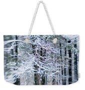 Blurred Shot Of Snow-covered Trees Weekender Tote Bag