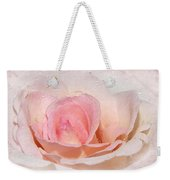 Blush Pink Dewy Rose Weekender Tote Bag
