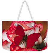 Blush Roses With Red Butterfly Weekender Tote Bag