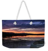 Boat At Sunset Weekender Tote Bag