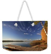 Boat Dock And Autumn Trees Along A Saskatchewan Lake Weekender Tote Bag