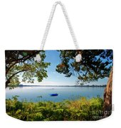 Boat Framed By Trees And Foliage Weekender Tote Bag