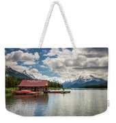 Boat House And Canoes On A Jetty At Maligne Lake In Canada Weekender Tote Bag