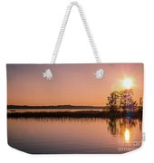 Boat On Calm Lake Weekender Tote Bag
