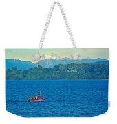 Boat On Llanquihue Lake From Puerto Varas-chile Weekender Tote Bag