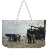 Boat On The Beach At Scheveningen Weekender Tote Bag by Anton Mauve