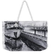 Boat On Waterfront Marina Kirkland Washington Weekender Tote Bag