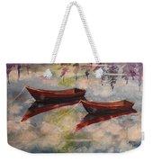 Boat Reflections Watercolor Painting Weekender Tote Bag