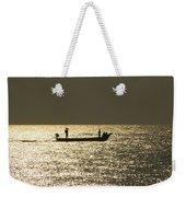 Boat Silhouette In Sunrise At Marina Beach, Chennai Weekender Tote Bag