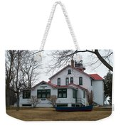 Boat With The Lighthouse Weekender Tote Bag