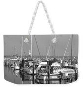 Boats And Reflections B-w Weekender Tote Bag