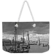 Boats And Shard And Tower Bridge Bw Weekender Tote Bag