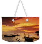 Boats At Senggigi Weekender Tote Bag