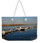 Boats At Sunset In Fuzeta Weekender Tote Bag
