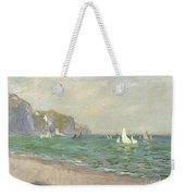 Boats Below The Cliffs At Pourville Weekender Tote Bag by Claude Monet