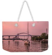 Boats Heading Out At Sunset To Watch Fireworks Weekender Tote Bag