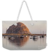 Boats In Morro Rock Reflection Weekender Tote Bag