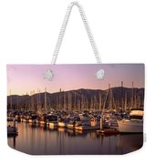 Boats Moored At A Harbor, Stearns Pier Weekender Tote Bag