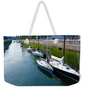 Boats Moving Into Chittenden Locks Seattle Weekender Tote Bag