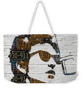 Bob Dylan Minnesota Native Recycled Vintage License Plate Portrait On White Wood Weekender Tote Bag