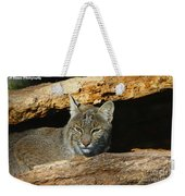Bobcat Hiding In A Log Weekender Tote Bag