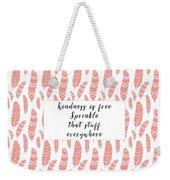 Bohemian Feathers Coral  Kindness Is Free Weekender Tote Bag