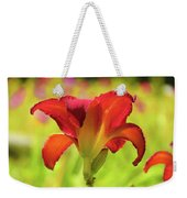 Bold Red Gold - Daylily Weekender Tote Bag