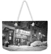 Boston Chinatown Snowstorm Tyler St Black And White Weekender Tote Bag