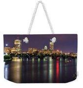 Boston Harbor Nights-panorama Weekender Tote Bag by Joann Vitali