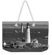 Boston Light With Graves Light Weekender Tote Bag