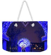 Boston Ma Christopher Columbus Park Trellis Lit Up For Valentine's Day Rainy Night Weekender Tote Bag