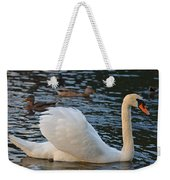Boston Public Garden Swan Amongst The Ducks Ruffled Feathers Weekender Tote Bag