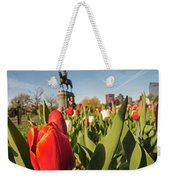 Boston Public Garden Tulips And George Washington Statue 2 Weekender Tote Bag