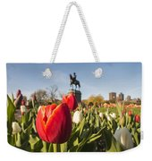 Boston Public Garden Tulips And George Washington Statue Weekender Tote Bag