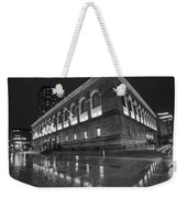 Boston Public Library Rainy Night Boston Ma Black And White Weekender Tote Bag