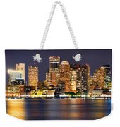 Boston Skyline At Night Panorama Weekender Tote Bag