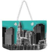 Boston Skyline - Graphic Art - Cyan Weekender Tote Bag