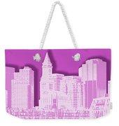 Boston Skyline - Graphic Art - Pink Weekender Tote Bag